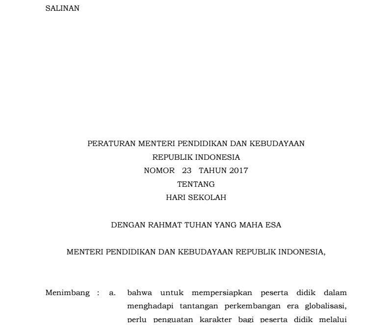 Permendikbud Republik Indonesia Nomor  Tentang Hari Sekolah Yang Rencananya Akan Diterapkan Sejak Tahun Ajaran