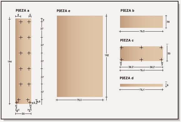 Plano muebles en melamina estante biblioteca proyecto 1 for Las medidas de una casa libro