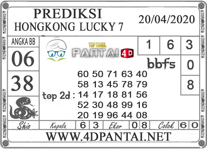 PREDIKSI TOGEL HONGKONG LUCKY 7 PANTAI4D 20 APRIL 2020