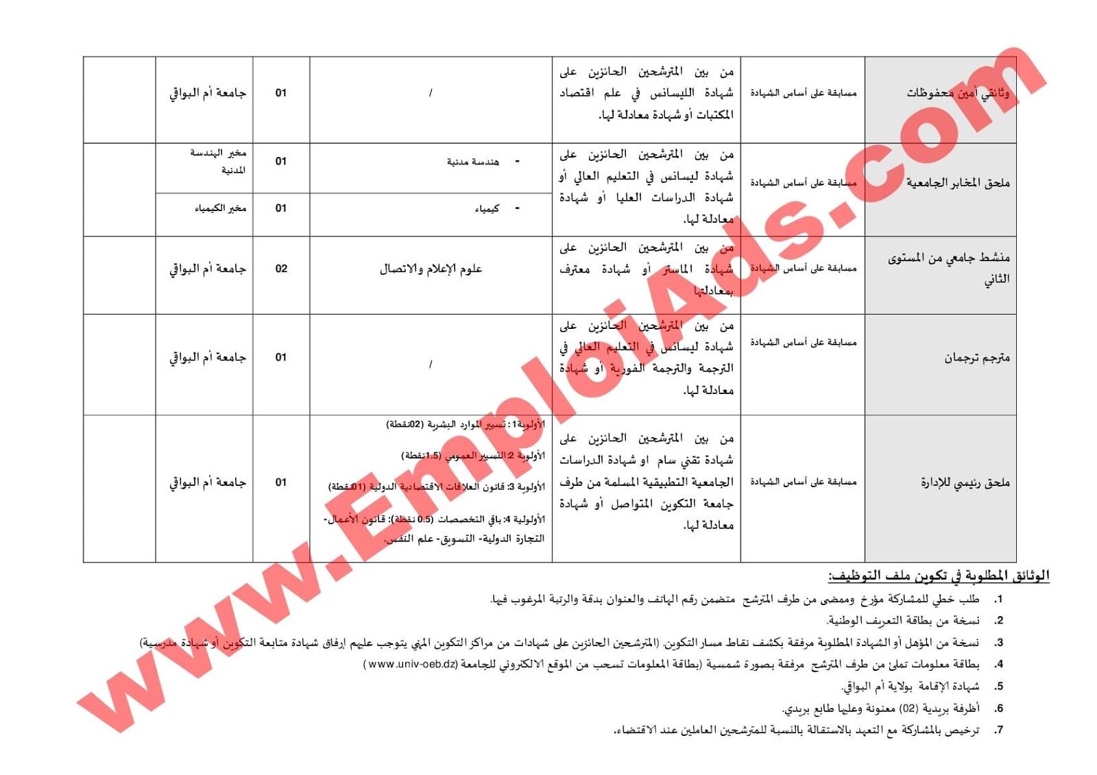 إعلان مسابقة توظيف اداريين بجامعة ام البواقي جويلية 2017
