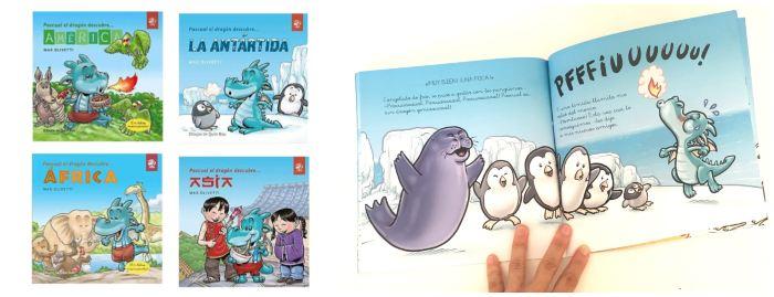 cuentos libros infantiles en letra ligada Colección pascual el dragón descubre el mundo