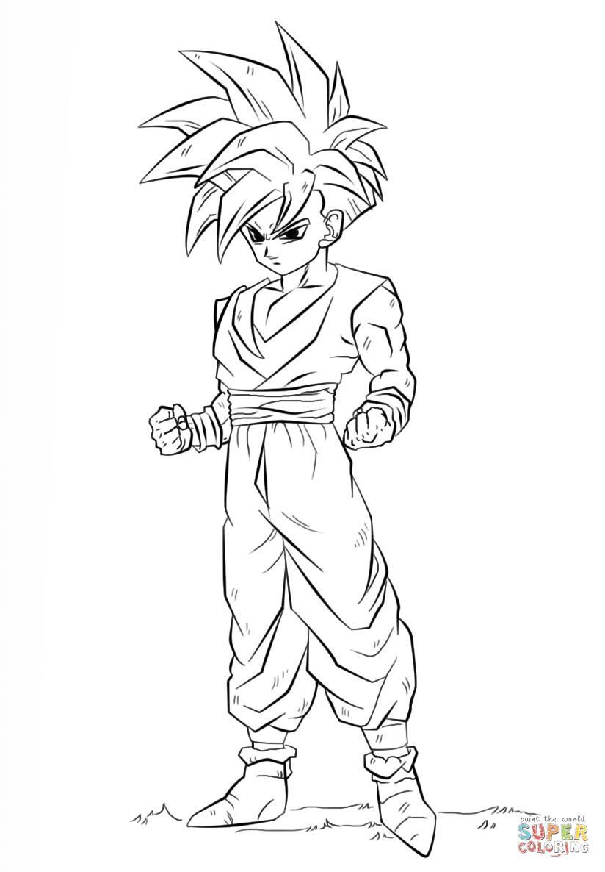 Dibujo Para Colorear De Dragon Ball Z Gohan Imágenes Para Colorear