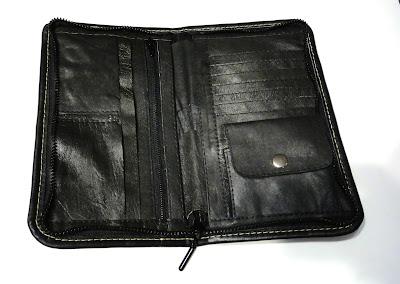 Мужской вертикальный портмоне - натуральная кожа. Черный кошелек, яркая отстрочка - подарок мужчине. Ручная работа, доставка почтой или курьером
