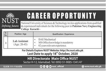 National University Of Science And Technology NUST Job Advertisement in Pakistan - Apply Online - hr.nust.edu.pk