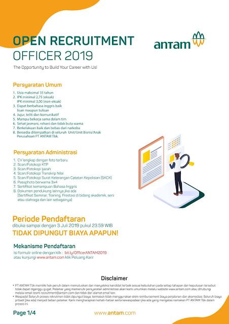 Lowongan Kerja PT ANTAM (Persero) Tbk Juli 2019