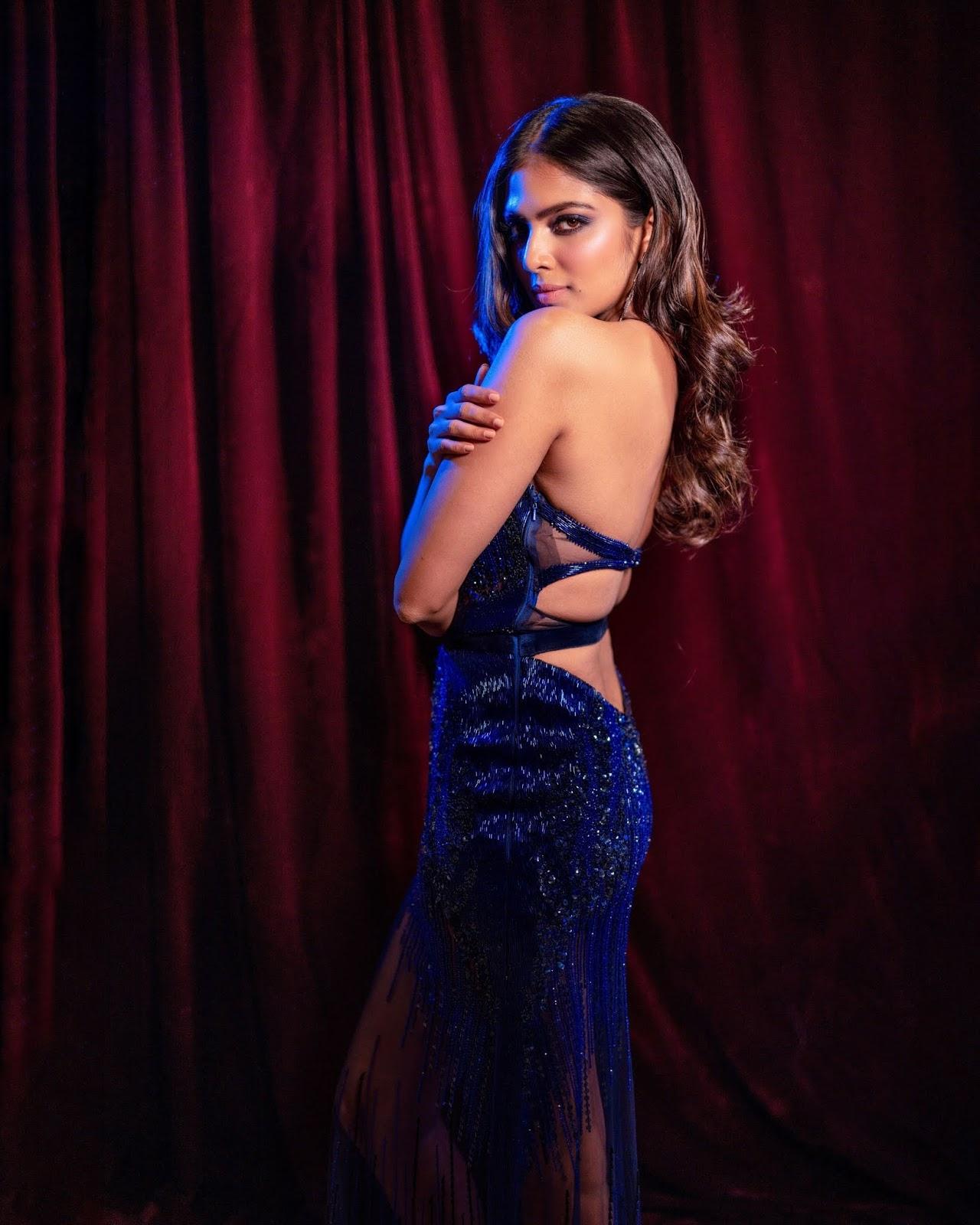 Malavika Mohanan in Blue Dress for IIFA