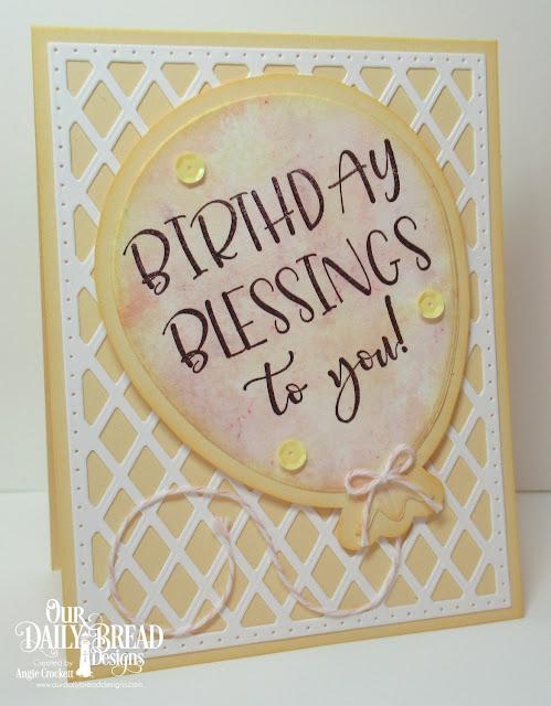 ODBD Big Birthday Bolds, ODBD Custom Large Balloon Die, ODBD Custom Lattice Background Die, Card Designer Angie Crockett
