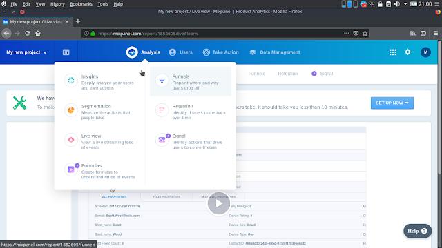 Mixpanel Aplikasi Monitoring Website