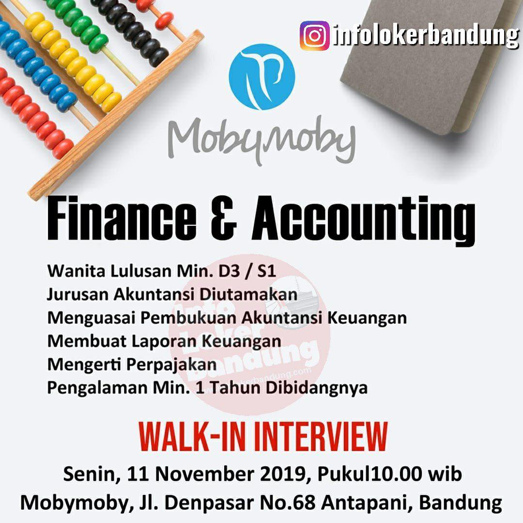 Lowongan Kerja Finance & Accounting Mobymoby Bandung (Walk In Interview) 11 November 2019