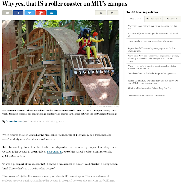"Boston Globe article with photo of rollercoaster and headline ""Why yes, that IS a roller coaster on MIT's campus"""