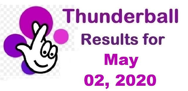 Thunderball Results for Saturday, May 02, 2020