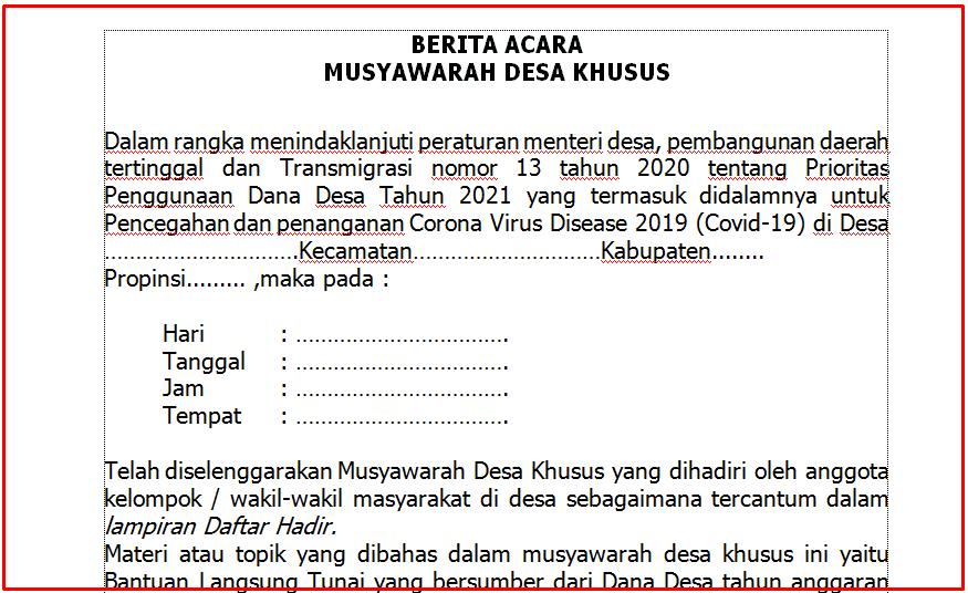 Download Berita Acara Musyawarah Desa Khusus BLT Dana Desa Tahun  Download Berita Acara Musyawarah Desa Khusus BLT Dana Desa Tahun 2021