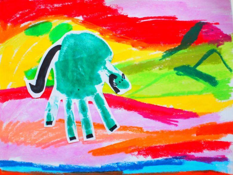 horse handprint art