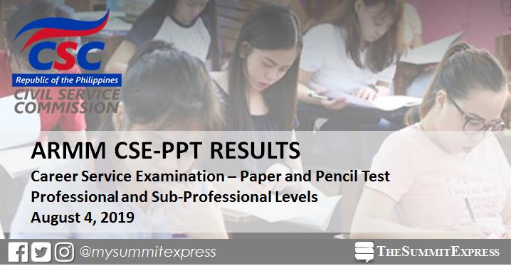 ARMM Passers List: August 2019 Civil Service Exam CSE-PPT result