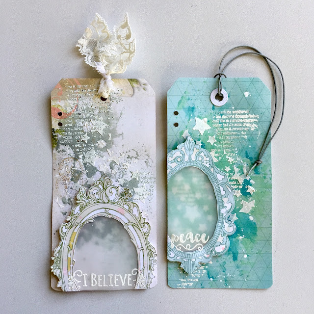 Mixed Media Tag Mini Album by Angela Tombari made with BoBunny Carousel Christmas Collection