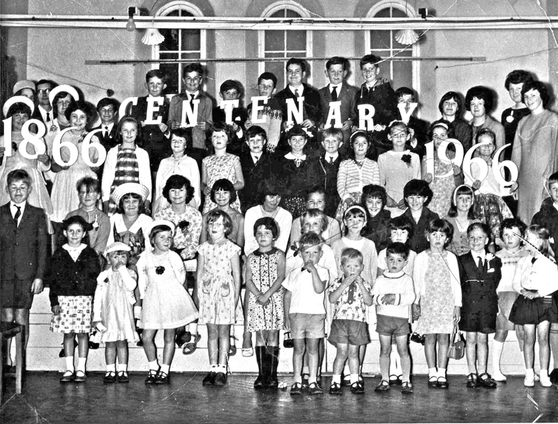 Children in 1966 posing for the centenary photo of Colebrook Methodist Church near Plymouth