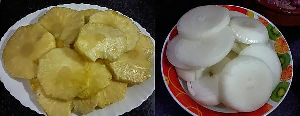 Receita de carne assada com abacaxi e cebola