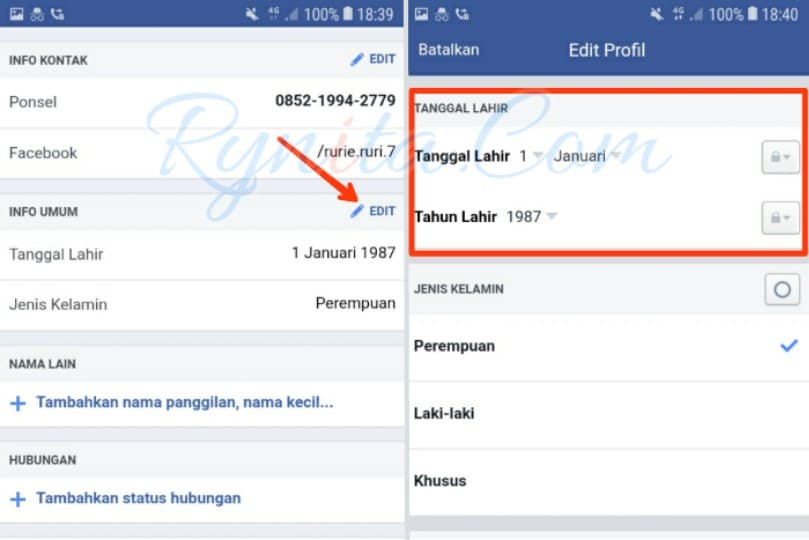 Cara merubah kata sandi di facebook lewat browser HP