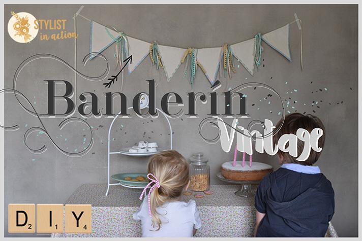 A partir de un post que escribí para TuHogar.com donde hice un Banderín vintage, comparto en el blog algunas fotos y tips que quedaron afuera del post original.