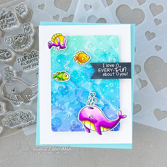 Sea themed Valentine Card by Tatiana Trafimovich | Tides of Love Stamp Set, Bokeh Hearts Stencil Set and Frames & Flags Die Set by Newton's Nook Designs #newtonsnook #handmade