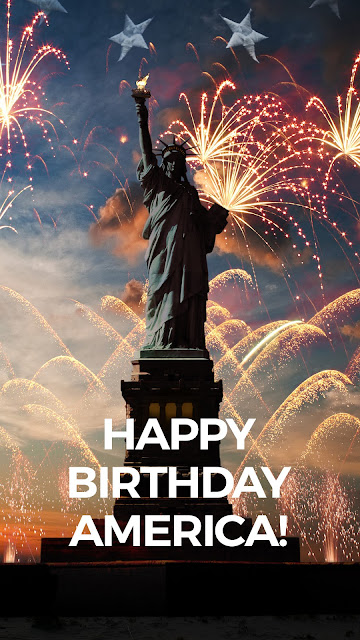 Illustrated poster of Statue of Liberty with fireworks behind her.  text: Happy Birthday America