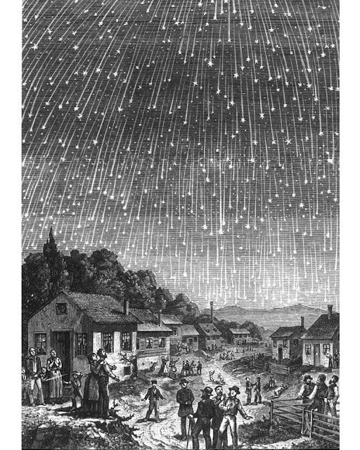 Tranh vẽ của Elsevier/M. Littmann về bão sao băng Leonid năm 1833.