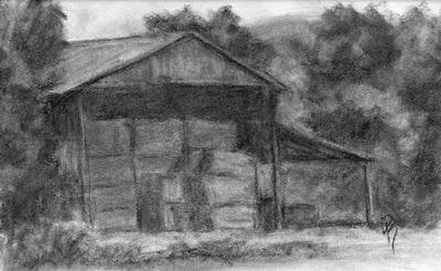 charcoal sketch hay shed landscape rural