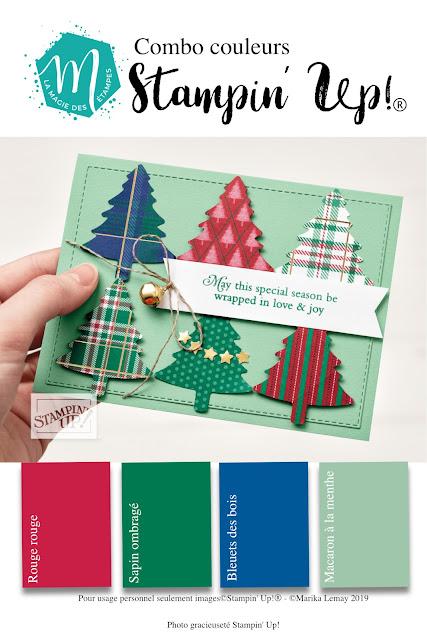 Combinaison de couleurs et sketch Stampin' Up! pour la carterie et le scrapbooking