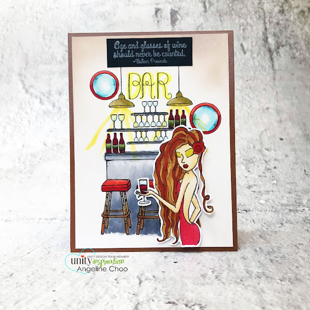 ScrappyScrappy: Stay safe and craft on with Unity Stamp - Scene Stamps Set the Bar #scrappyscrappy #unitystampco #card #cardmaking #handmadecard #stamping #papercraft #marlowfashionista #setthebar #barscene #unityscenestamp #sexyreddress #copicmarkers
