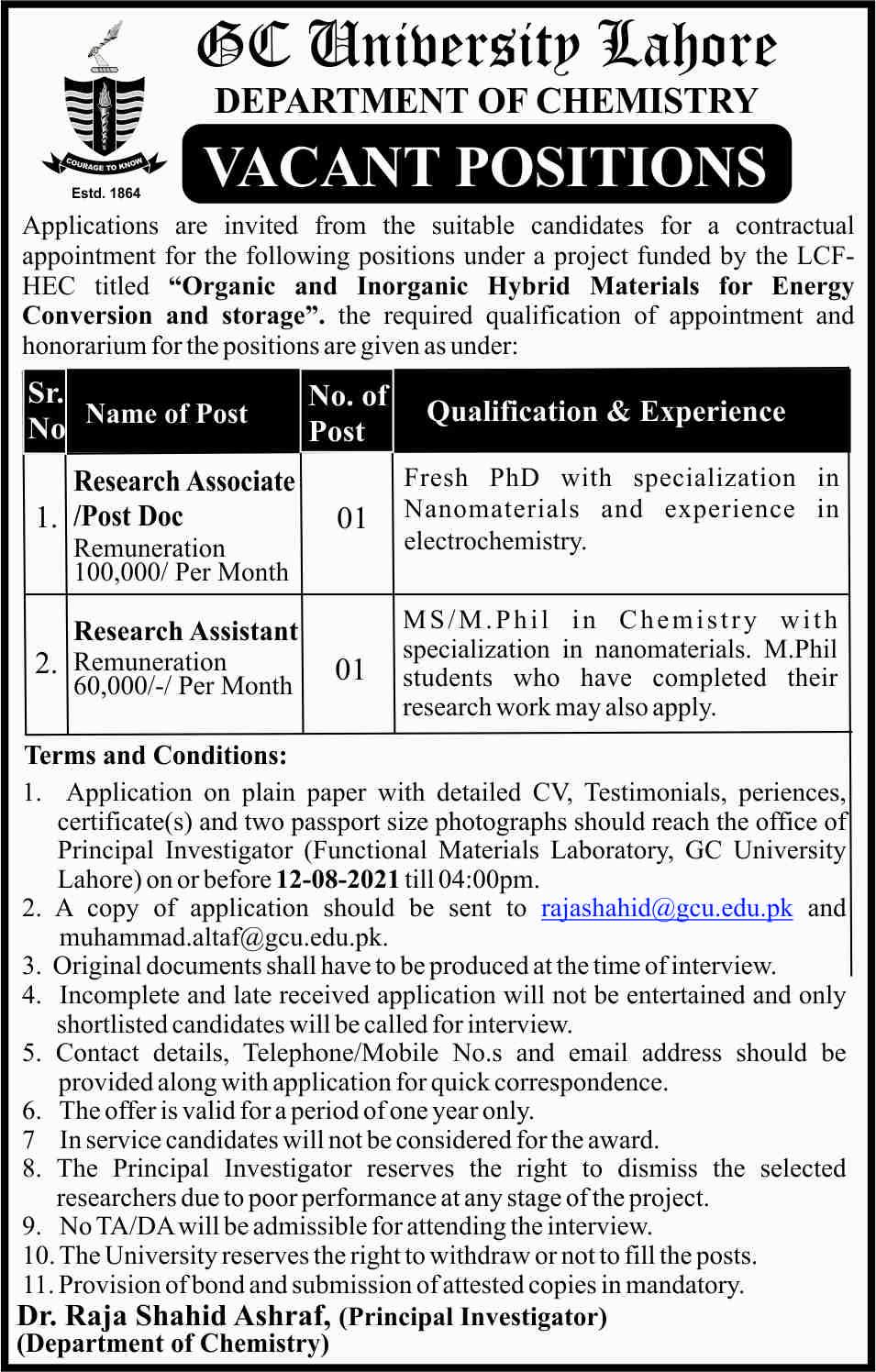 GC University Lahore Jobs 2021 – Government College University GCUL Jobs