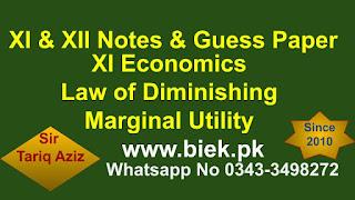 XI Economics Law of Diminishing Marginal Utility www.biek.pk
