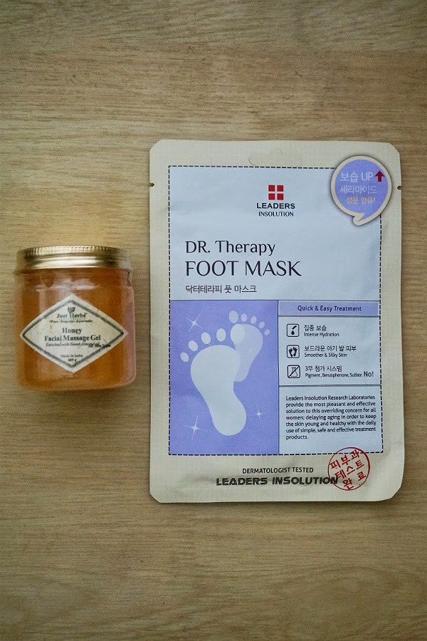 Just Herbs Facial Massage Gel and Leaders Insolution Foot Mask from Luxola