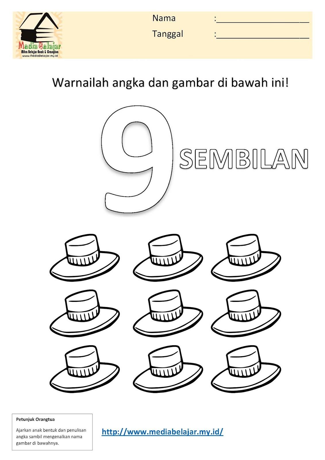 Mewarnai Angka 9 Sembilan Dan Mewarnai Gambar Topi