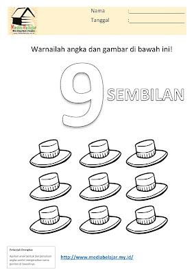 Mewarnai Angka 9 (Sembilan) dan Mewarnai Gambar Topi