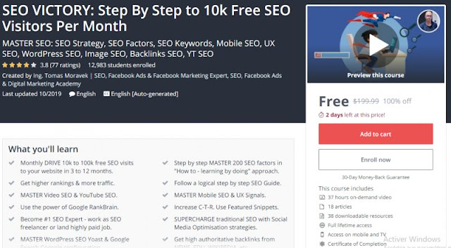 [100% Off] SEO VICTORY: Step By Step to 10k Free SEO Visitors Per Month| Worth 199,99$