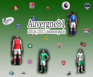 Kits Season 1 pack 2016-2017 Pes 2013 By Auvergne81