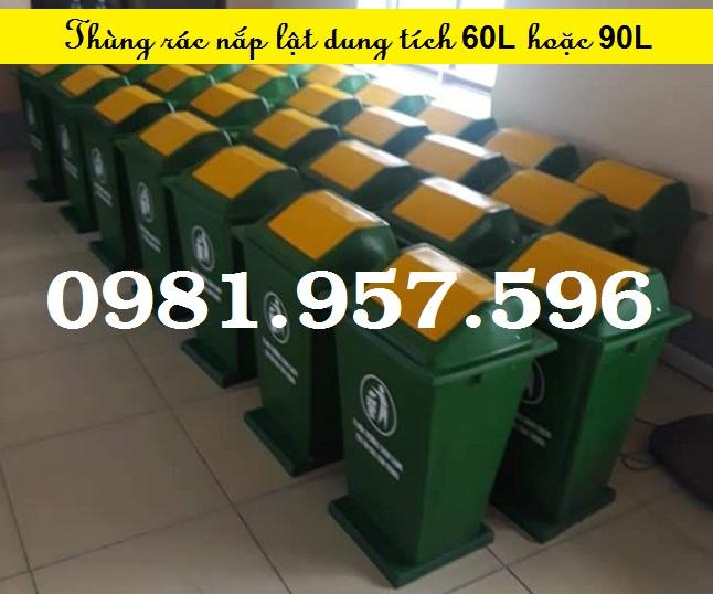 Thùng rác hình mái 60L, thùng rác nắp lật 90L, thùng rác nắp bập bênh 60L