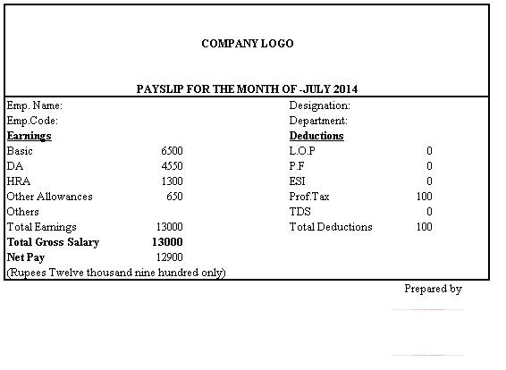 Doc696421 Sample of Payment Slip Salary Slip Format 87 More – Employee Payment Slip Format