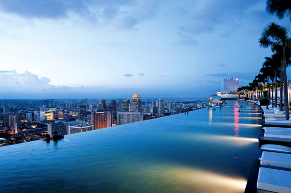 The hotel has the most beautiful pool in Singapore