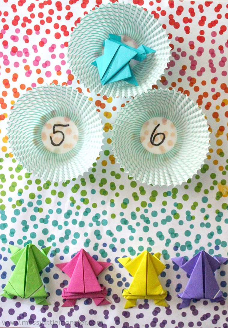 Origami Frog Craft - plus a fun counting game for toddlers and preschoolers