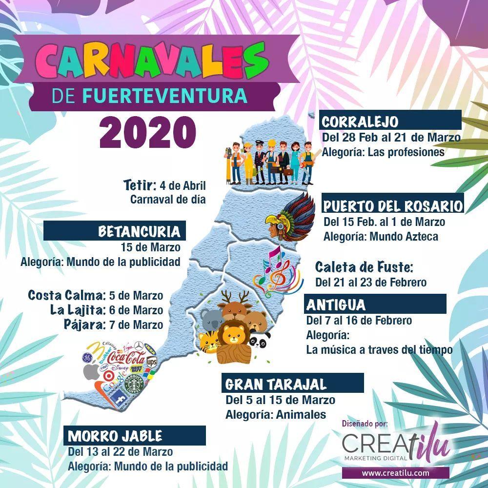 Fechas%2BCarnavales%2Ben%2BFuerteventura%2B2020 - Fechas y Alegorias de los diferentes Carnavales en Fuerteventura 2020
