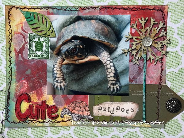 art card with a pic of a turtle on a GelPress background