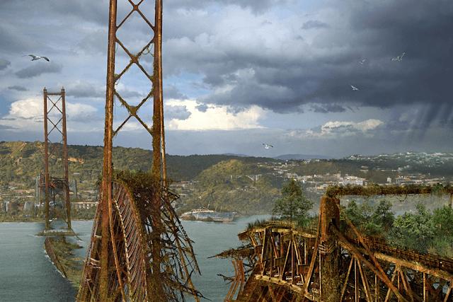 puente destruido con plantas