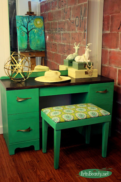 art deco vanity mod makeover pantone color of the year greenery