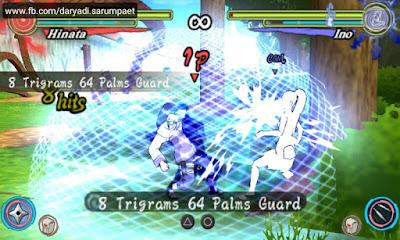 Naruto Shippuden Ultimate Ninja Heroes 3 PSP game battle Hinata vs Ino
