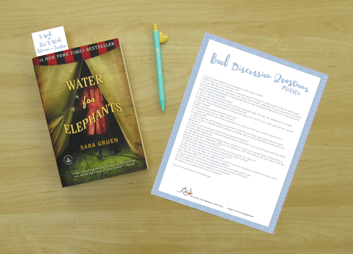 reading, bookmark, discussion questions, free printable, freebie, water for elephants, sara gruen