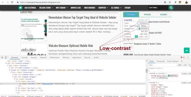 Rasio Kontras Teks (Foreground) dan Background WebPage