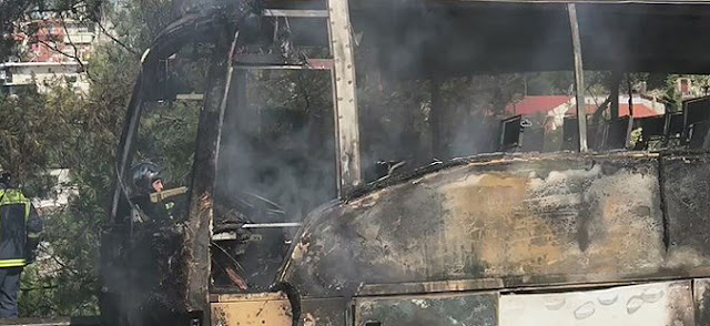 Macedonian bus in Greece catches fire, no one injured
