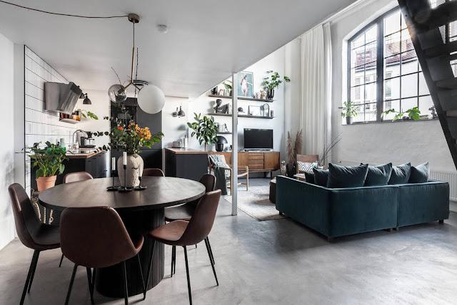 loft scandinavo industriale e accenti vintage