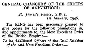 London Gazette - Supplement 37412, p. 275 Officers of the Civil Division of the Most Excellent Order of the British Empire